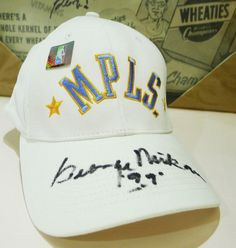 57242d0afd4 NBA Minneapolis Lakers George Mikan Signed Autographed MPLS Baseball Hat Cap