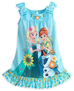 Disney Store Frozen Fever Anna, Elsa & Olaf Nightshirt Nightgown for Girls Frozen Outfits, Outfits Niños, Disney Outfits, Disney Clothes, Little Girl Gowns, Gowns For Girls, Disney Girls, Disney Princess, My Baby Girl