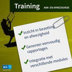 Krijg inzicht in de bezetting en afwezigheid met onze training Aan- en afwezigheid. Rapportages genereren   Eenvoudige integratie   Schrijf u direct in via https://bcsacties.nl/product/aan-en-afwezigheid/