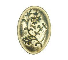 Gunmetal Embossed Flower Ellipse Domed Metal Shank Buttons in Antique Lemon Yellow Color - 25mm - 1 inch