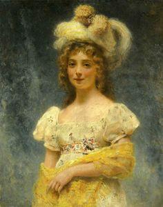 A Lady in a Yellow Shawl - Konstantin Egorovich Makovsky