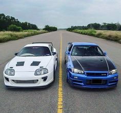 Toyota Supra v Nissan GTR. I wouldn't say no to either of them to be fair :)
