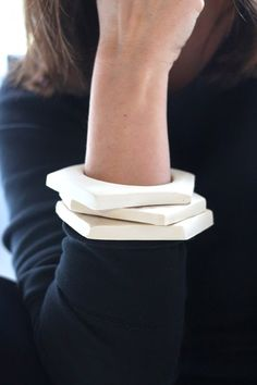 DIY Geometric Bangle Bracelets from Clay