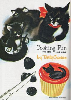 Immensely adorable 1960s Betty Crocker recipe for Black Cat Cupcakes (image 1 of 2). #vintage #recipe #1960s #sixties #retro #Halloween #food #cupcakes #cat #black #orange #cute