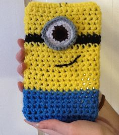 Crochet minion tablet cover case