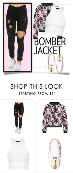 """""""keeping stylish with bomber jackets"""" by moonlightprinces on Polyvore featuring Topshop, Converse, women's clothing, women, female, woman, misses, juniors, stylish and bomberjackets"""