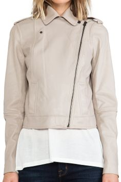 beautiful Vince moto leather jacket in muted pink