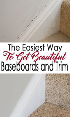 Crisp baseboards and molding make a wall paint shine. Repairing and caulking baseboards doesn& have to be scary with these pro tips! Home Renovation, Home Remodeling, Basement Renovations, Home Staging Tips, Diy Hanging Shelves, Home Repairs, Do It Yourself Home, Mason Jar Diy, Simple House