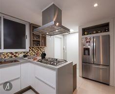 americaarquitetura | Cozinha | Ladrilho hidráulico | Cinza e Branco  |Projeto: América Arquitetura | Foto: César Vieira