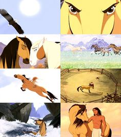 Spirit: Stallion of the Cimarron. One of my all time favorite movies growing up Dreamworks Movies, Dreamworks Animation, Disney Animation, Disney And Dreamworks, Animation Film, Spirit The Horse, Spirit And Rain, Best Cartoons Ever, Cool Cartoons