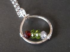 custom mothers family birthstone necklace CIRCLE OF LOVE made with genuine gemstones