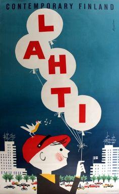 Contemporary Finland Lahti, 1960s - original vintage poster by Martti Mykkanen listed on AntikBar.co.uk