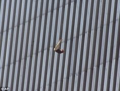 Human tragedy: Someone leaps from the burning World Trade Center on 9/11. It is thought that jumpers would have fallen for around 10 seconds