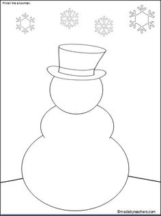 Print and finish drawing the snowman. Print and finish drawing the snowman. Christmas Crafts For Adults, Winter Crafts For Kids, Preschool Christmas, Preschool Crafts, Holiday Crafts, Toddler Crafts, Kid Crafts, Christmas Drawing, Christmas Art