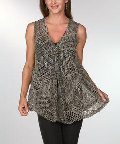 Take a look at the Ananda's Collection Green & Olive Crocheted Rosette Vest on #zulily today!