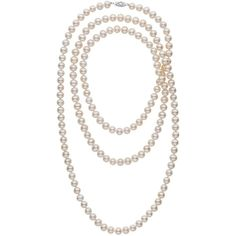 52-inch 7.5-8.0 mm AA+ White Freshwater Pearl Necklace ($472) ❤ liked on Polyvore featuring jewelry, necklaces, long knot necklace, 14 karat gold necklace, freshwater cultured pearl necklace, fresh water pearl necklace and white jewelry