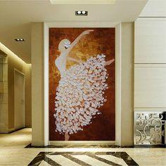 Hand-painted white brown dancing ballerina painting wall art