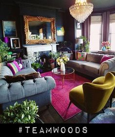 New Living Room Carpet Wall To Wall Side Tables Ideas Eclectic Living Room, Living Room Colors, Living Room Designs, Large Living Rooms, Quirky Living Room Ideas, Small Living, Colorful Living Rooms, Art Deco Interior Living Room, Bold Living Room