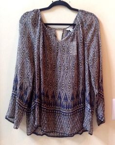 NWT LUCKY BRAND WOMEN'S MULTI-COLOR 100% Rayon Long Sleeve Blouse Size L-$99 #LuckyBrand #Blouse