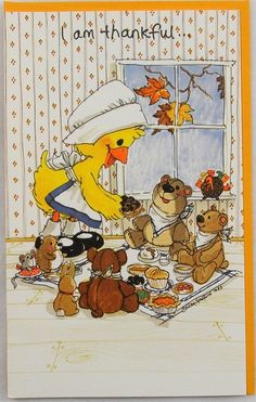 RARE 1983 Suzy's Zoo 1 Thanksgiving Greeting Card