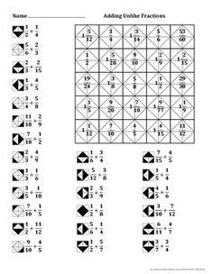 Adding Unlike Fractions Color Worksheet Math Fractions Worksheets, 3rd Grade Fractions, Dividing Fractions, Math Notebooks, Decimal, Elementary Math, Math Classroom, Teaching Math, School