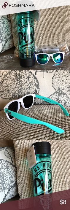 Victoria's Secret water bottle & sunglasses combo Brand new, fun colors, great for the beach! Still in original packaging. 😎😎😎 PINK Victoria's Secret Accessories Sunglasses
