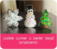Melted perler bead and cookie cutter ornaments from Meet the Dubiens