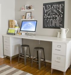 I love this desk idea. Two small metal file cabinets that were originally an ugly gray painted white. Then she added legs to the file cabinets.  For the desk top she used a counter top. But a strong piece of wood would work. Or some salvaged furniture that would otherwise be going into the dumpster.