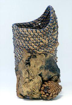 Blue Pine Vase,  Pine Needle Basket Fiber Art