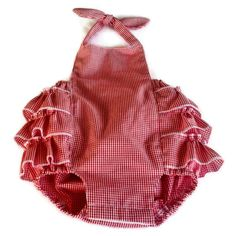 Okay, I am adicted to bubble rompers, especially if they have ruffles on the butt.  And who doesn't love red gingham seersucker?