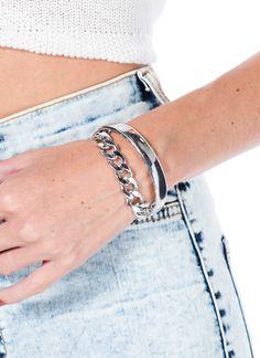 Metallic Cuff 'N Chain Bracelet
