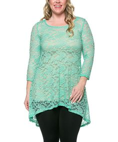 Another great find on #zulily! Mint Lace Hi-Low Tunic - Plus by Celeste #zulilyfinds