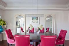 Fuchia Pink Dining Chairs - Design photos, ideas and inspiration. Amazing gallery of interior design and decorating ideas of Fuchia Pink Dining Chairs in dining rooms, kitchens by elite interior designers. Pink Dining Rooms, Dining Room Colors, Blue Rooms, House Of Turquoise, Pink Turquoise, Teal Blue, Magenta, Aqua, Tufted Chair