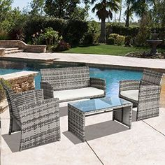 Garden Patio Cushioned Seat Mix Gray Wicker Sofa Furniture Set Outdoor