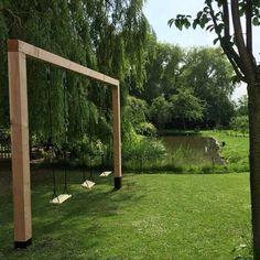 Wooden Swing Double Douglas Tarzan - Swing made of douglas wood Backyard Swings, Backyard Playground, Backyard For Kids, Backyard Patio, Backyard Landscaping, Garden Swings, Playground Ideas, Diy Garden, Exterior