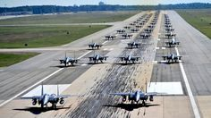 Photo: nearly 70 F-15E Strike Eagles in largest Elephant Walk to date