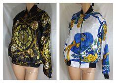 80s REVERSEIBLE black gold silky #Daimyo japanese zip #bomber #goodevil #jacket   #unknown