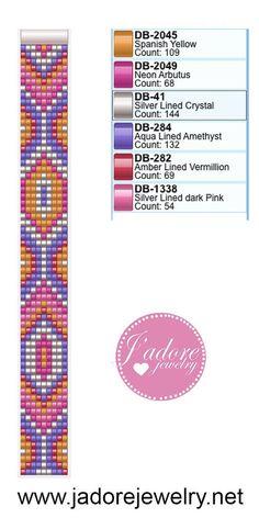 82.jpg pink and orange bead loom pattern square stitch pattern