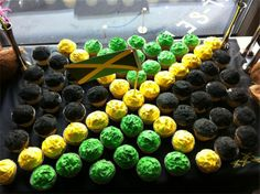 Jamaican flag cupcakes