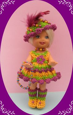 """Crochet Doll Clothes Mardi Gras Outfit for 4 ½"""" Kelly Same Sized Dolls 