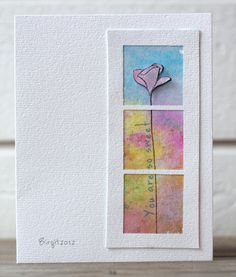 I like everything about this--the spray background, the dimensional flower, the framing.