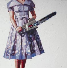 woman with hedge trimmer