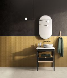 KÚPEĽŇA - Dizajn plánovanej kúpeľne / BENEVA Color Of The Week, Shades Of Yellow, Saturated Color, Stone Tiles, Bathroom Interior Design, Porcelain Tile, Home Collections, Decoration, Interior Architecture