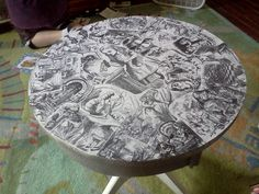 My latest project, an Alice in Wonderland Collage Table top