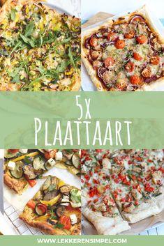 5x plaattaart Vegetarian Finger Food, Clean Eating Snacks, Healthy Eating, Tapas, Lunch Restaurants, Pizza Appetizers, Sandwiches, Crock Pot Cooking, Food Inspiration