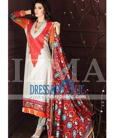Collar Neck Printed Dress from Charizma Winter Suits 2014 by Riaz Arts