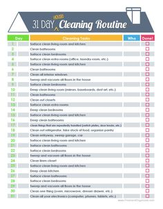 Spring Cleaning Challenge - Fresh and Organized: The 31 Day House Cleaning Routine. Cleaning Challenge, Cleaning Checklist, Cleaning Hacks, Cleaning Schedules, Daily Cleaning, Cleaning Routines, Cleaning Rota, Household Cleaning Schedule, Cleaning Calendar