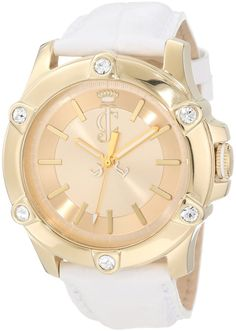 Juicy Couture Women's 1900938 Surfside Gold Case White Leather Strap Watch #JUICYWATCHES #JUICYWOMEN #WOMENSWATCHES #AMAZONSHOPPING #MULTIWATCHBRAND