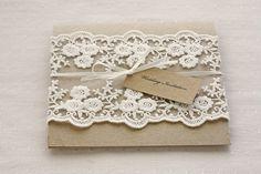 Lace wedding invitations - Rustic wedding invitations - pocketfold invites recycled kraft card. via Etsy.