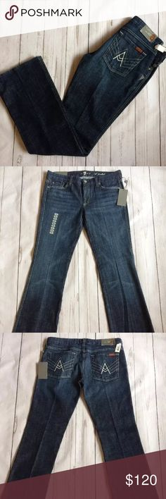 """NWT 7 For All Mankind A Pocket Flare Jeans Size 31 Measurements: (provided in inches)  Waist: 16 7/8""""  Inseam: 34""""  Outseam: 42 1/2""""  Leg opening: 9 1/4""""  Front rise: 8 3/8""""  Back rise: 11 1/2""""  Hips: 19 7/8""""  •Condition: This jeans are in excellent condition, no rips, holes or defects that I can see. Please refer to pictures as they are part of the description and can provide you with a better idea  •This jeans are 100% authentic and come from a smoke free home 7 For All Mankind Jeans Flare…"""